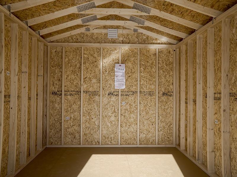 A frame shed inside