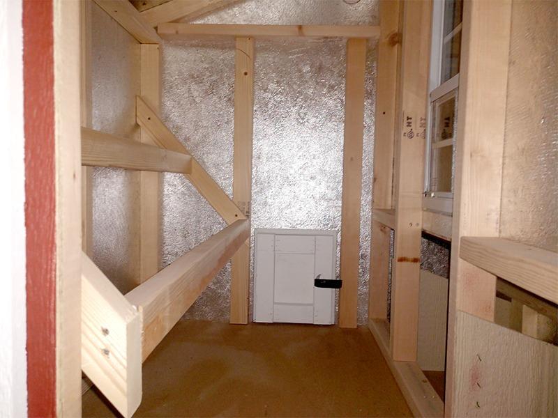 Inside mini chicken coop