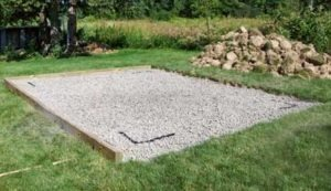 Gravel pad for outdoor shed