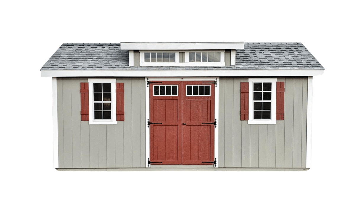 classic shed with a dormer
